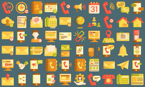 客户服务主题图标创意设计矢量素材