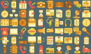 通讯传输与媒体等图标设计矢量素材
