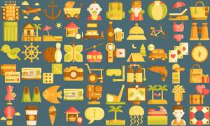 100余款旅行出游主題圖標矢量素材