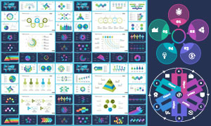 炫彩数据统计图表与流程图矢量素材