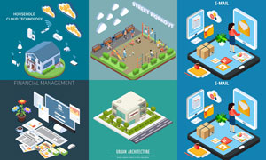 智能家居与晨练等创意设计矢量素材