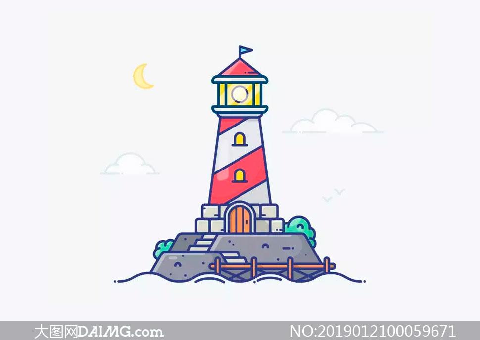 MBE风格的灯塔插画AI教程源文件
