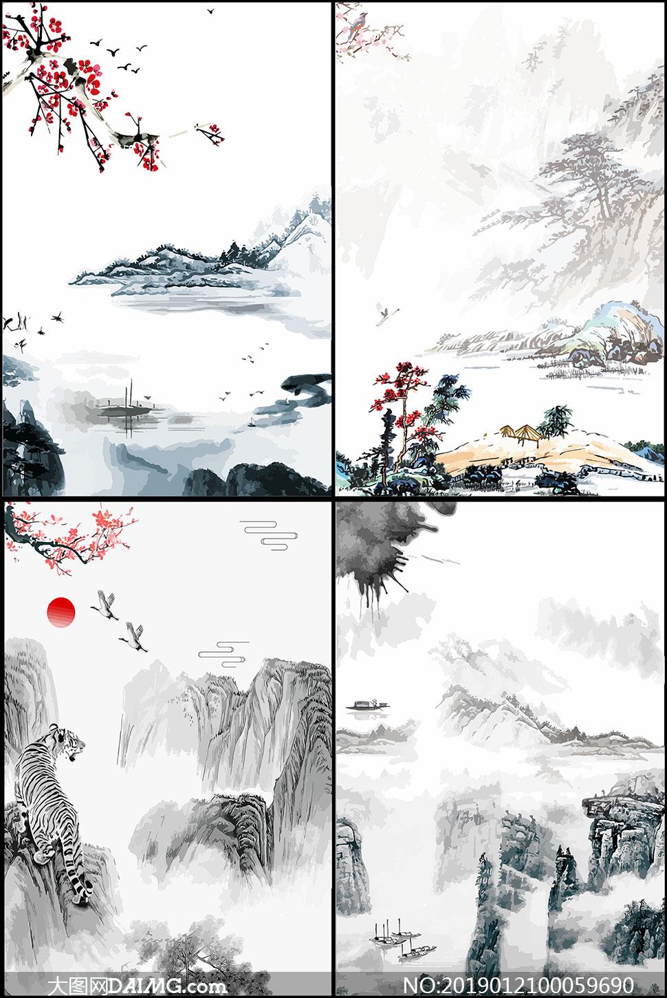 中国风古典山水背景设计矢量素材