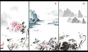 中国风山水风格广告背景PS素材