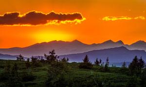 黄昏晚霞群山树丛风光摄影高清图片
