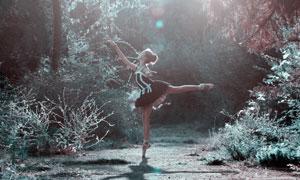 树林中翩翩起舞的美女摄影高清图片