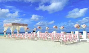 大海边的沙滩婚礼现场布置高清图片