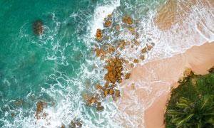 鸟瞰视角沙滩海水风景摄影高清图片