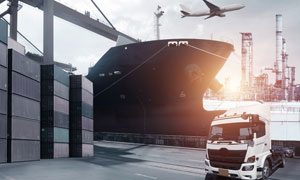 集装箱货柜与轮船货车摄影高清图片