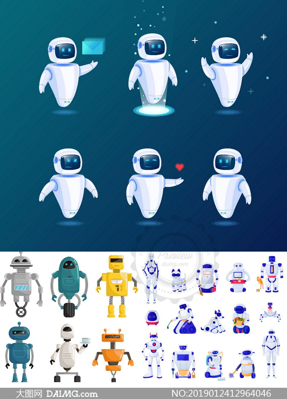 多款高科技智能机器人创意矢量素材