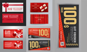 紅色喜慶風格的代金券設計矢量素材