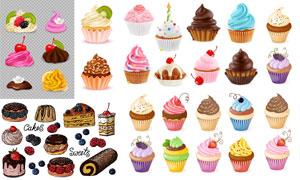冰淇淋蛋糕与杯子蛋糕主题矢量素材