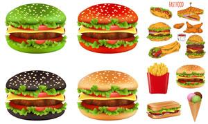 薯條雞腿與漢堡包美食創意矢量素材