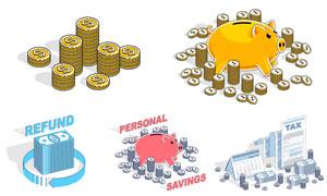 小猪存钱罐等金融元素创意矢量素材