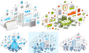 金钱与税务等主题创意设计矢量素材