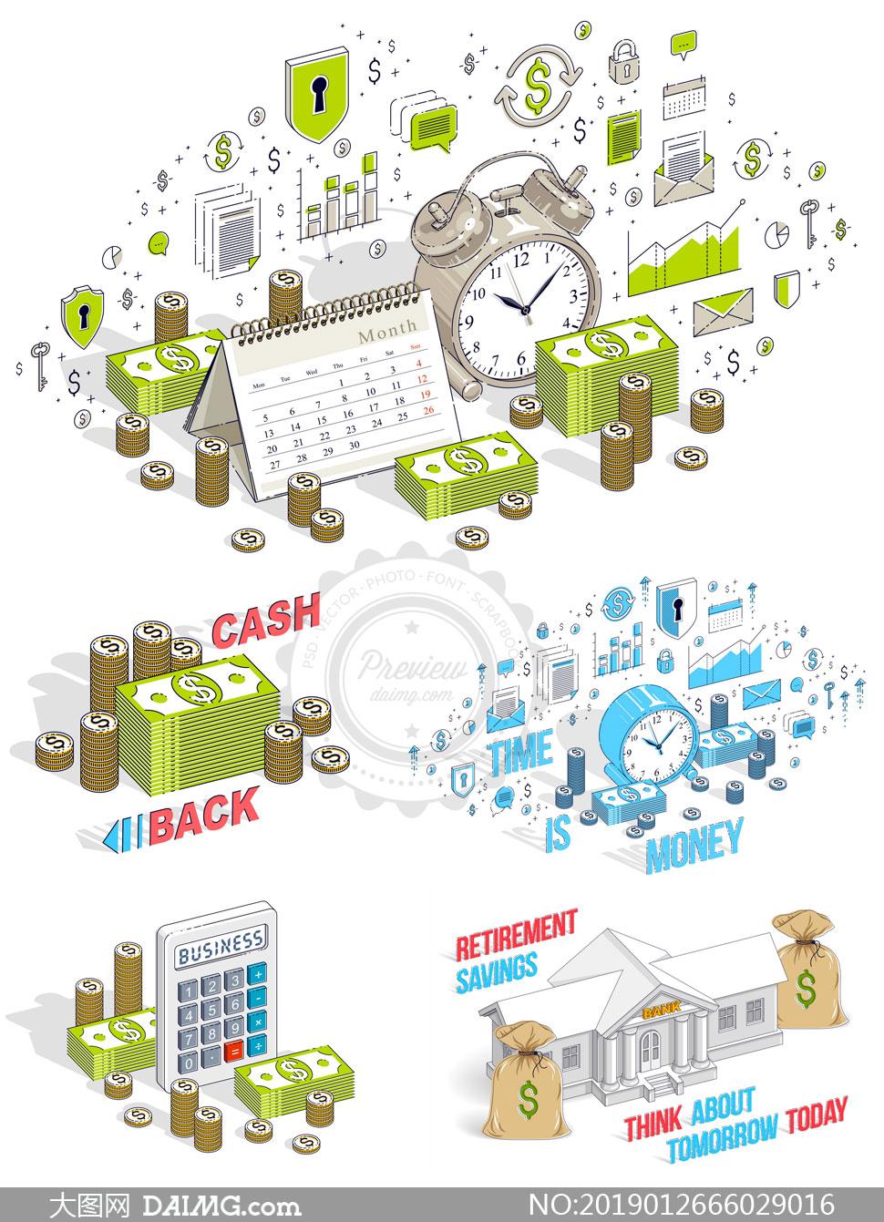 闹钟与钱袋等元素税务主题矢量素材