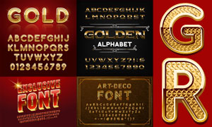 立体质感效果英文字体设计矢量素材
