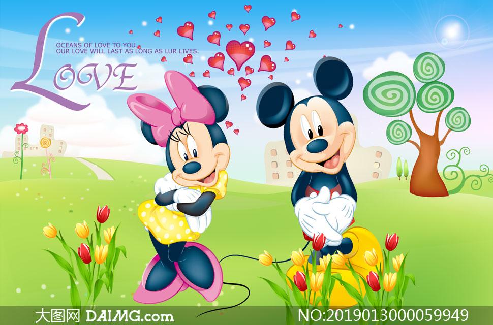 米老鼠主题卡通背景设计PSD素材