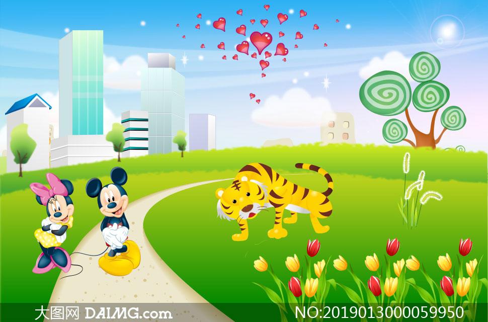 幼儿园卡通展板背景设计矢量素材