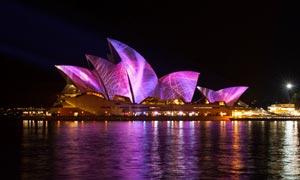 悉尼歌劇院美麗夜景攝影圖片