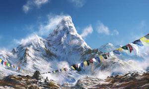 拉萨美丽壮观的雪山摄影图片