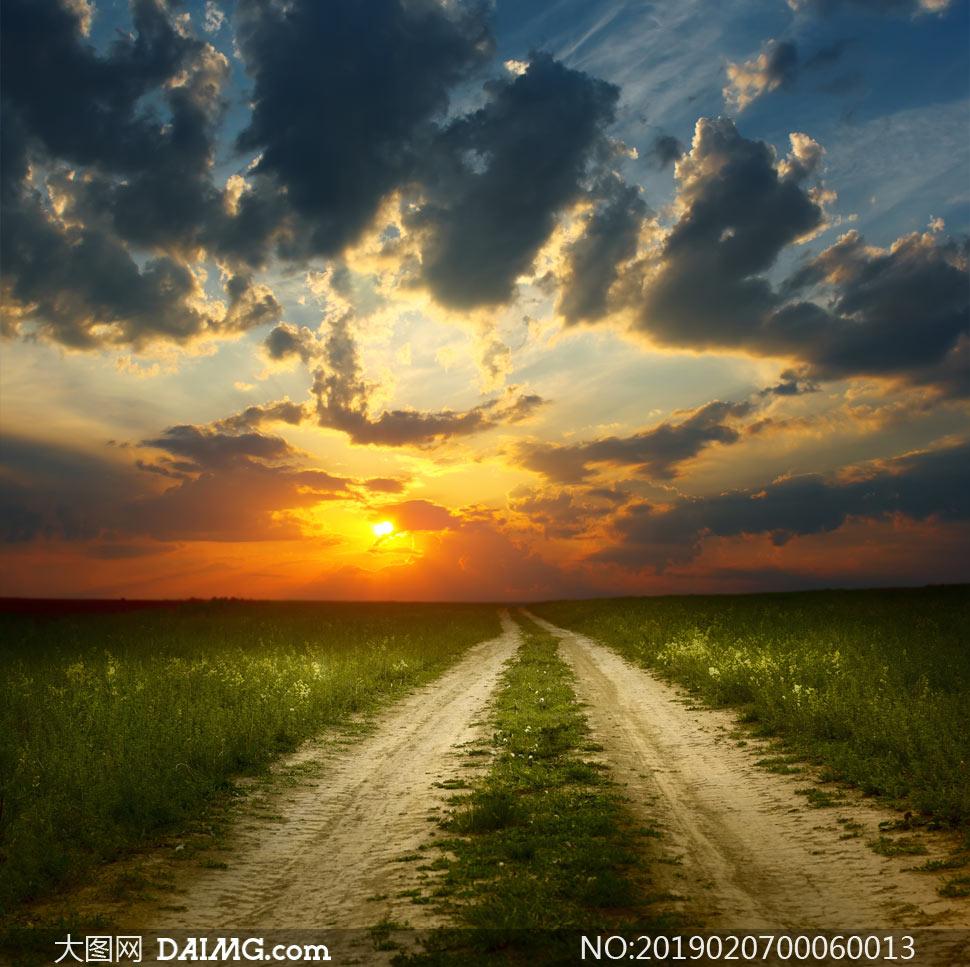 夕阳下的田园道路摄影图片