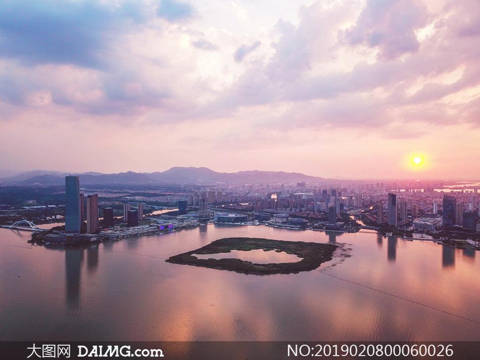 宜兴东氿夕阳美景摄影图片