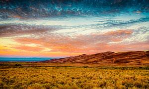阿拉莫薩黃昏美麗風光攝影圖片