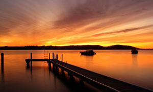 卡雷灣麥夸里湖黃昏美景攝影圖片
