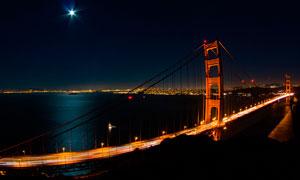 月光下的港澳珠大桥摄影图片