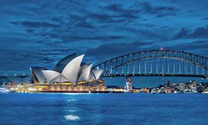 悉尼大剧院美丽夜景摄影图片