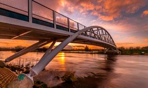 港澳珠大桥夕阳美景摄影图片