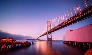 夜幕下港澳珠大桥高清摄影图片