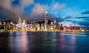 香港维多利亚港夜晚美景摄影图片