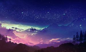 星空下的大山美景高清摄影图片