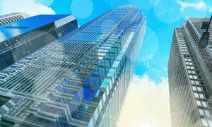 蓝天白云与建筑物楼宇仰视高清图片