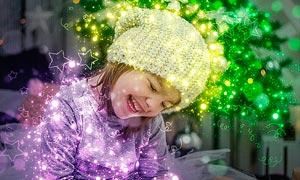 圣诞节主题星光和五角星装饰PS动作