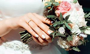 在新娘手中的捧花特写摄影高清图片