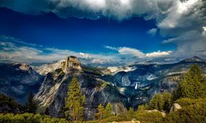 天空白云树木群山风光摄影高清图片