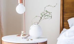 房间内台灯与绿植装饰摄影高清图片