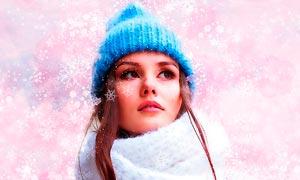冬季雪花装饰特效PS动作