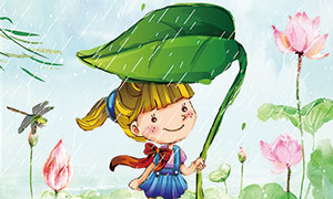 传统二十四节日之雨水海报PSD素材