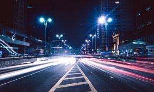 长曝光效果的城市夜景摄影高清图片