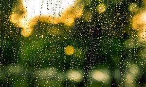 打在玻璃上的水滴近景特写高清图片