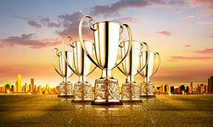 獎杯為主題的廣告背景PSD源文件
