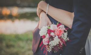 在新娘手中的鲜花特写摄影高清图片