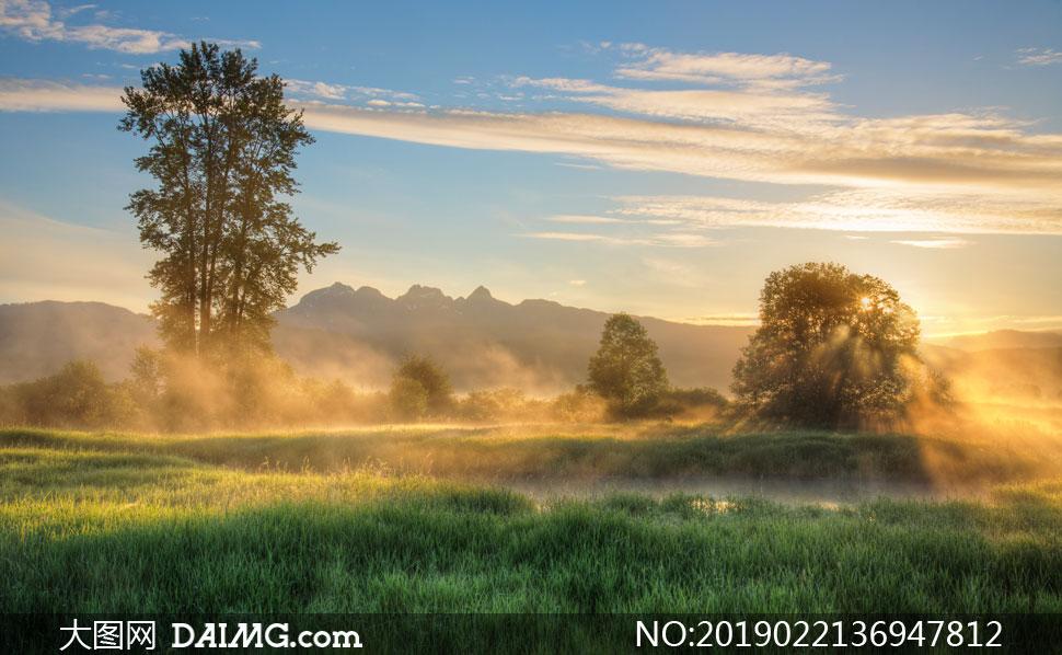 雾气笼罩中的山峦草地摄影高清图片