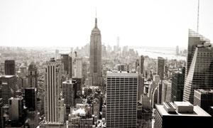 海滨城市建筑风光鸟瞰摄影高清图片