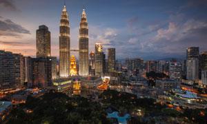 馬來西亞吉隆坡雙子塔夜景高清圖片