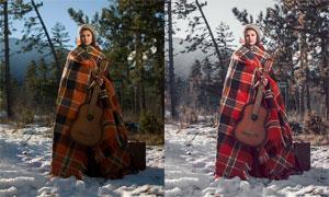 冬季唯美冷色藝術效果PS教程素材
